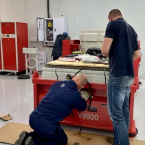 Installation of the vibration test system at Dragonfly Aerospace
